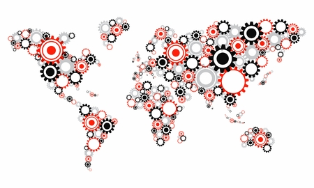 cogs and gears: Creative Abstract Transparent Cog Wheels World Map vector illustration