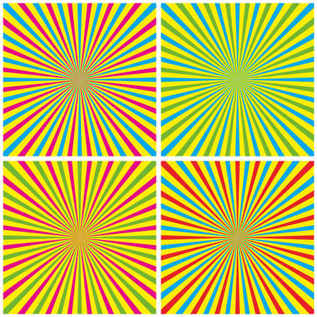 Backgrounds Set With Radial Rays vector illustration Vector