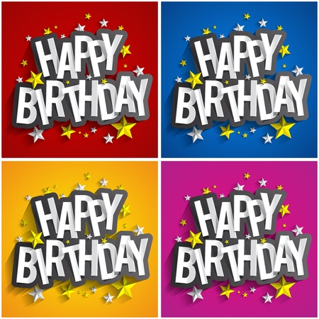 happy birth day: Colorful Happy Birthday Greeting Card Vector Illustration Illustration