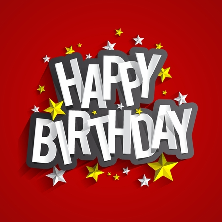 Colorful Happy Birthday Greeting Card Vector Illustration Çizim