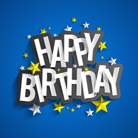 Colorful Happy Birthday Greeting Card Vector Illustration Çizim