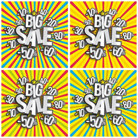 Creative Abstract Hard Discount Big Sale On Radial Rays Backgrounds vector illustration Vector