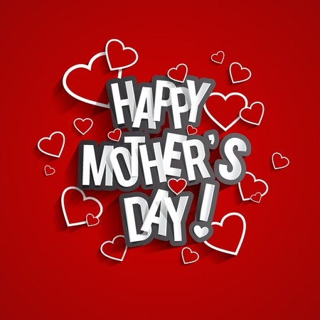 Creative Happy Mothers Day Greeting Card On Red Background vector illustration
