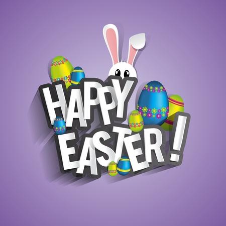 pascuas navide�as: Tarjeta de felicitaci�n feliz de Pascua con el conejo de dibujos animados y huevos ilustraci�n vectorial