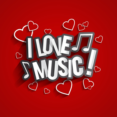 love music: I Love Music Design With Hearts And Notes On Red Background vector illustration Illustration
