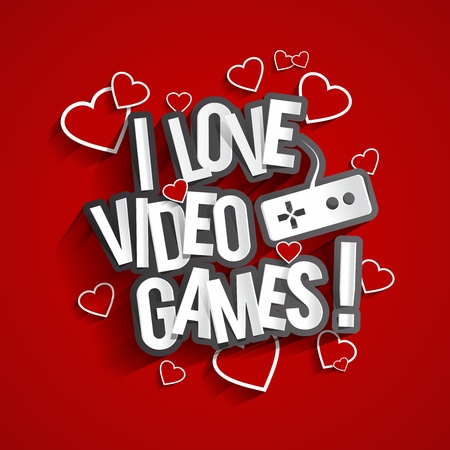 I Love Video Games Design With Hearts On Red Background vector illustration