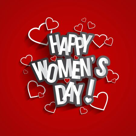 Happy Womens Day Design With Hearts On Red Backgroundvector illustration