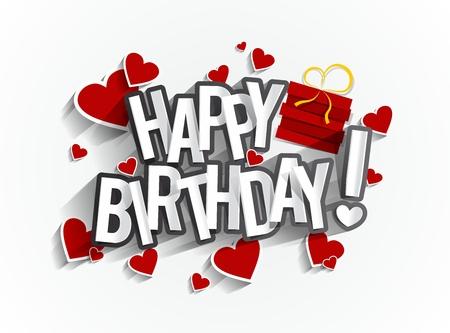 felicidad: Tarjeta de felicitación colorida del feliz cumpleaños Ilustración vectorial
