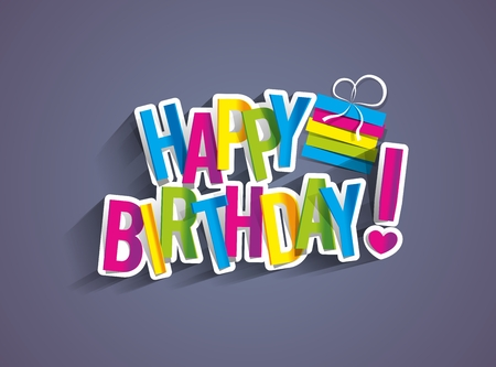 tarjeta postal: Tarjeta de felicitación colorida del feliz cumpleaños Ilustración Vector Vectores