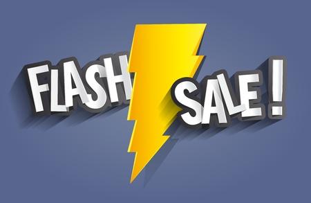 Flash Sale Design Met Thunder vector illustratie Stock Illustratie