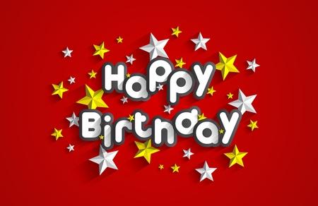 Happy Birthday Greeting Card On Stars Background Vector Illustration