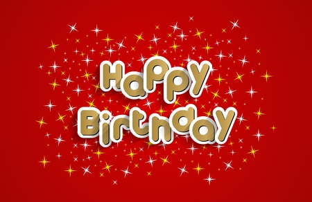 res: Happy Birthday Greeting Card On Stars Background Vector Illustration