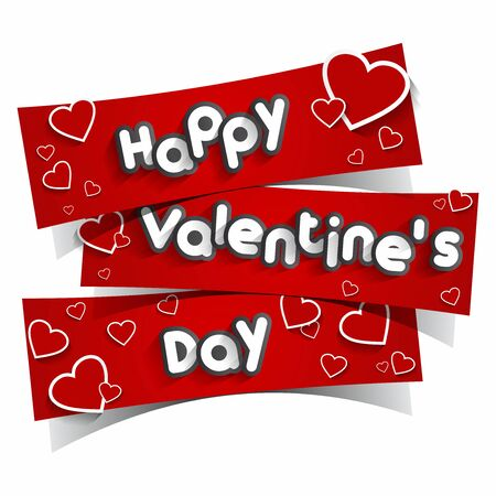wedding table decor: Happy Valentines Day Greeting Card vector illustration