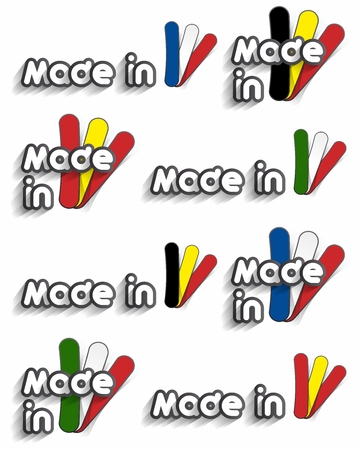 Creative Abstract Different Countries With Flags Made In Buttons vector illustration Vector