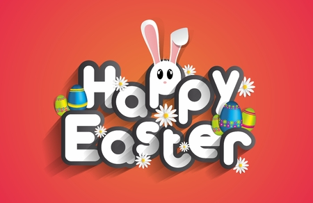 re: Happy Easter Greeting Card with Cartoon Rabbit And Eggs vector illustration