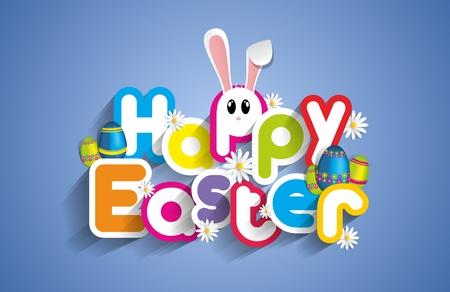 漫画ウサギと卵とハッピー イースターのグリーティング カード ベクトル イラスト