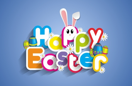 easter flowers: Happy Easter Greeting Card with Cartoon Rabbit And Eggs vector illustration