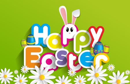 Happy Easter Greeting Card with Cartoon Rabbit And Eggs vector illustration