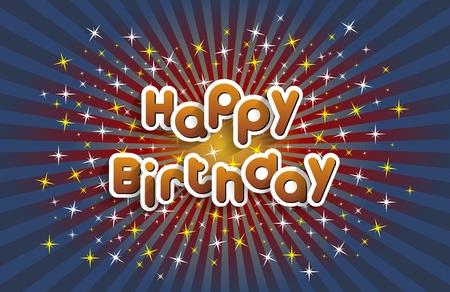 Happy Birthday Greeting Card On Stars Background vector illustration Çizim