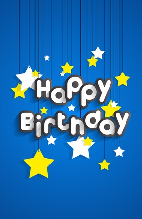 silver background: Happy Birthday Greeting Card On Stars Background vector illustration Illustration