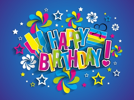 silver ribbon: Happy Birthday Greeting Card On Background vector illustration