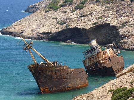 cyclades: Shipwreck in Amorgos, Cyclades, Greece
