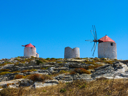 chora: Traditional Old Windmills in Chora the capital of Amorgos Island, Cyclades, Greece