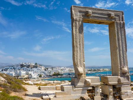 Portara - ruins of ancient temple of Delian Apollo on Naxos island, Cyclades, Greece