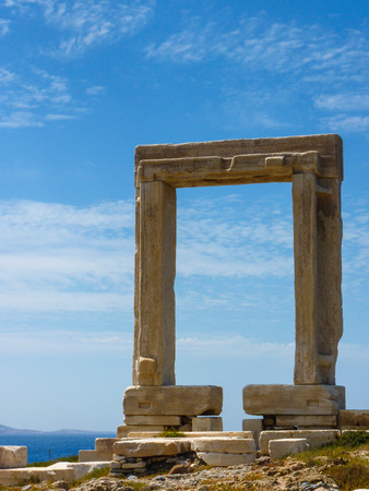 past civilization: Portara - ruins of ancient temple of Delian Apollo on Naxos island, Cyclades, Greece