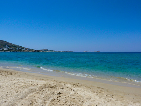 cyclades: Beautiful Plaka beach in Naxos Island, Cyclades, Greece Stock Photo