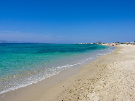 naxos: Beautiful Plaka beach in Naxos Island, Cyclades, Greece Stock Photo