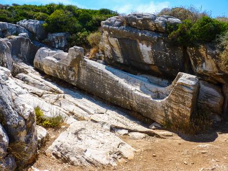 naxos: Kouros statue town near Apollonas in Naxos island, Cyclades, Greece Stock Photo