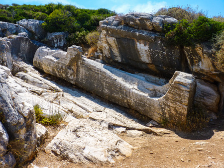theorist: Kouros statue town near Apollonas in Naxos island, Cyclades, Greece Stock Photo