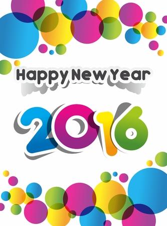 white party: Happy new year 2016 celebration greeting card design Illustration