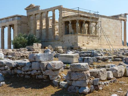 acropolis: Caryatides, Erechtheion temple Acropolis in Athens, Greece Stock Photo