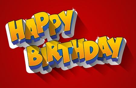 glücklich: Alles Gute zum Geburtstag Grußkarte Illustration