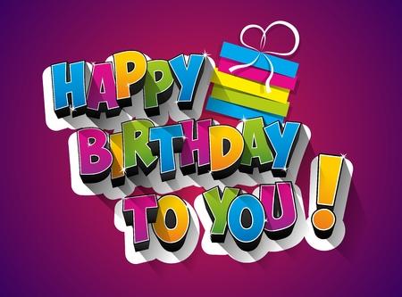 幸せな誕生日のお祝いのグリーティング カード イラスト  イラスト・ベクター素材