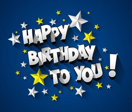 celebracion cumplea�os: Happy Birthday celebration greeting card illustration
