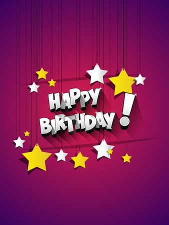 happy birthday text: Happy Birthday celebration greeting card illustration