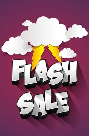 fashion illustration: Flash Sale with thunder on background illustration