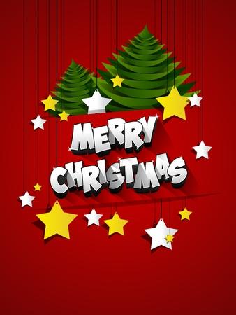 creative: Merry Christmas celebration greeting card design illustration