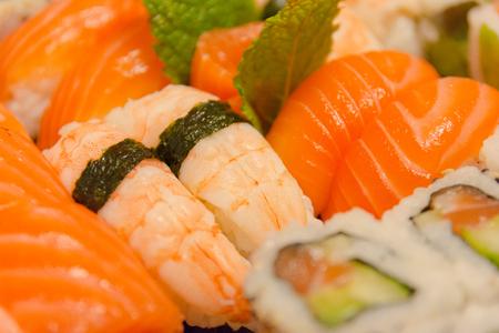 california roll: Japanese food. Sushi and california roll set