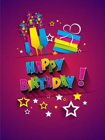 Happy Birthday Greeting Card On Background vector illustration Фото со стока - 49170562