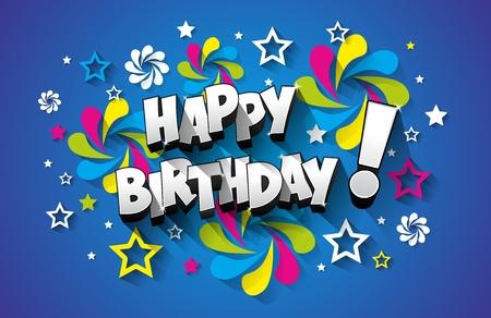 marco cumpleaños: Feliz cumpleaños en el fondo ilustración vectorial