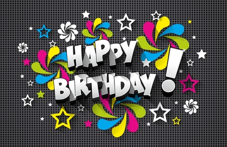 Happy Birthday Greeting Card On Background vector illustration Stok Fotoğraf - 49899057