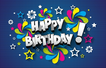 blue vintage background: Happy Birthday Greeting Card On Background vector illustration