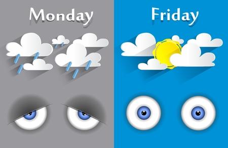 monday: Monday to friday feeling Conceptual vector illustration Illustration