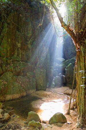 wang: Wang Sao Thong waterfall drained during summer, Koh Samui, Thailand
