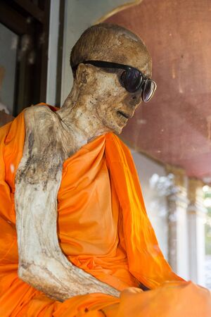 Koh Samui island, Thailand - July 4, 2016. Mummified monk in Koh Samui island, Thailand