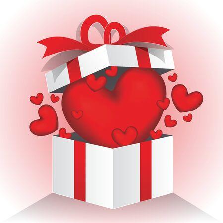 Valentines day hearts in gift box illustration. Illustration